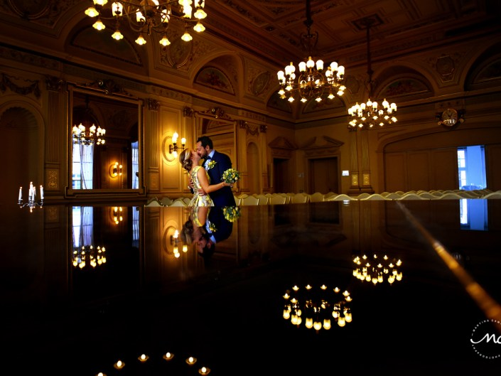 Bride and groom portraits in Heidelberg Castle, Germany. Martina Campolo Wedding Photography