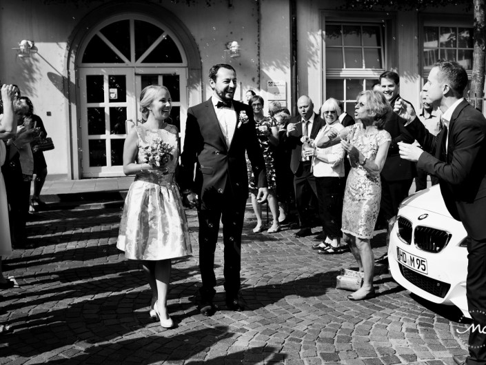 Bride and groom exit. Intimate German Wedding in Heidelberg. Martina Campolo Photography