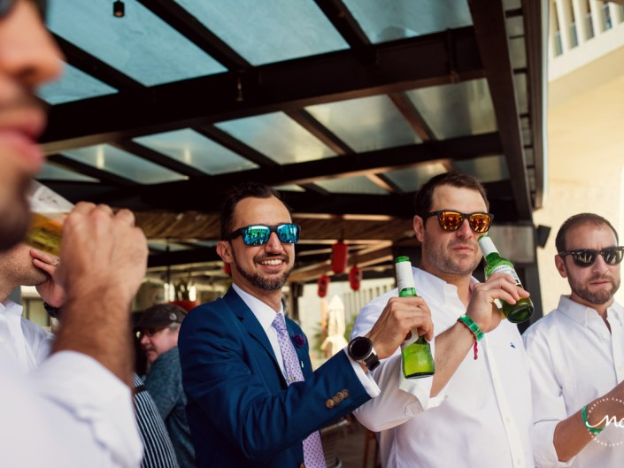 Groom & groomsmen at Grand Hyatt Playa del Carmen, Mexico. Martina Campolo Photography