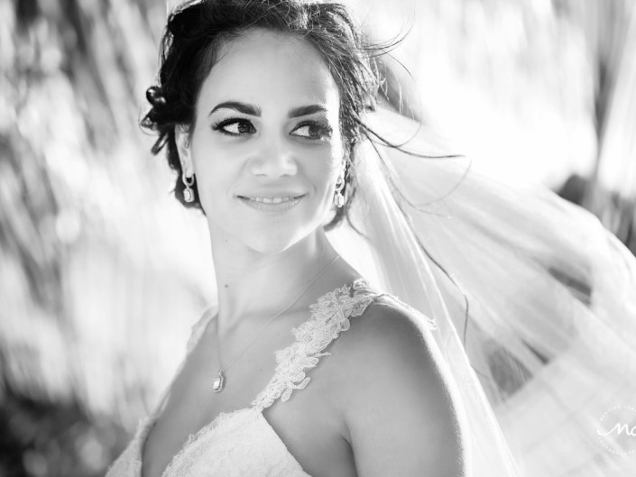 Black & white bride portraits at Blue Venado Beach in Mexico. Martina Campolo Photography