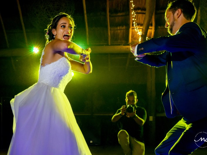 Bride and groom fun dance. Blue Venado Wedding in Mexico by Martina Campolo Photography