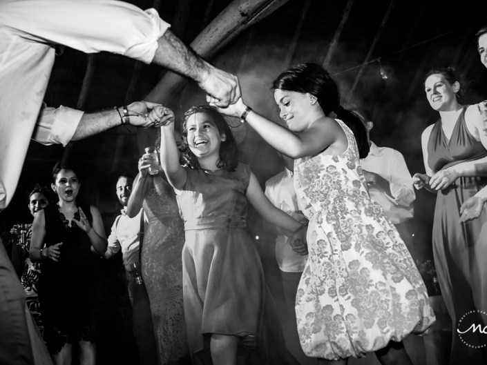Kids dance at Blue Venado Beach Wedding in Mexico. Martina Campolo Photography