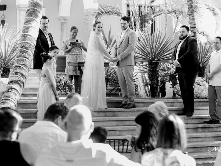 Black and white wedding photo at Hacienda del Mar, Riviera Maya, Mexico. Martina Campolo Photography