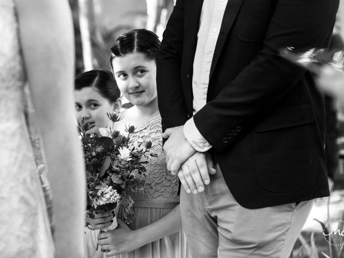 Black and white photo of flower girls at Hacienda del Mar Wedding in Mexico by Martina Campolo Photography