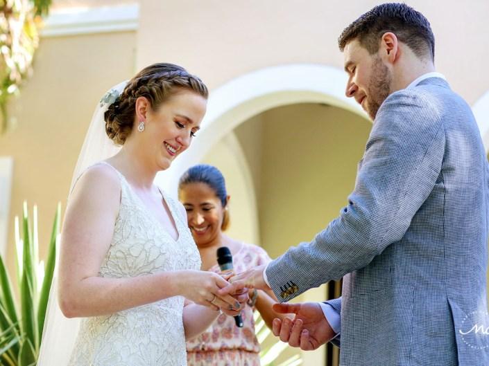 Ring exchange moment at Hacienda del Mar wedding in Riviera Maya, Mexico. Martina Campolo Photography