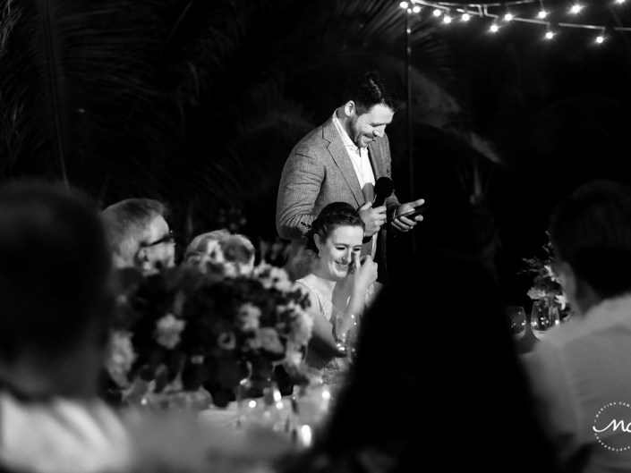 Black and white photo of groom's funny speech moment. Hacienda del Mar Wedding by Martina Campolo Photography