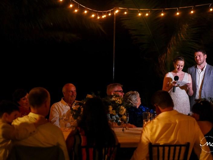 Bride's speech at wedding reception. Hacienda del Mar, Puerto Aventuras, Mexico. Martina Campolo Photography