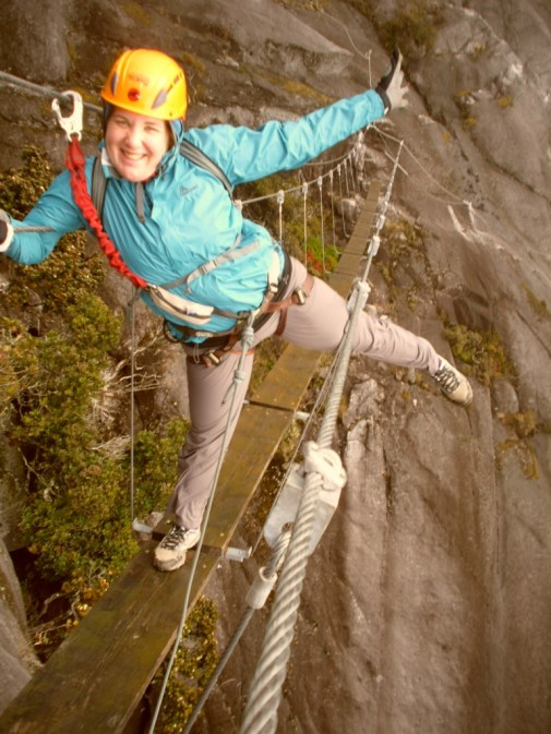 Striking a pose on the Kinabalu Via Ferrata