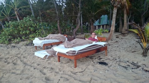 A few guys decided they wanted to sleep on the beach without forgoing the comfort of their beds!