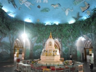 This pretty Yangon temple is done up to look (kind of) like a forest inside