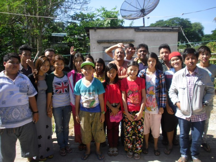 New friends - students in Pyay with their English teacher on his birthday