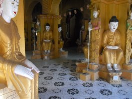 Amazing (though somewhat creepy, I think) geometric Buddhas in a temple in Mandalay
