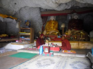A cave monastery where I shared a cup of tea with the monks who live there, near Inle Lake