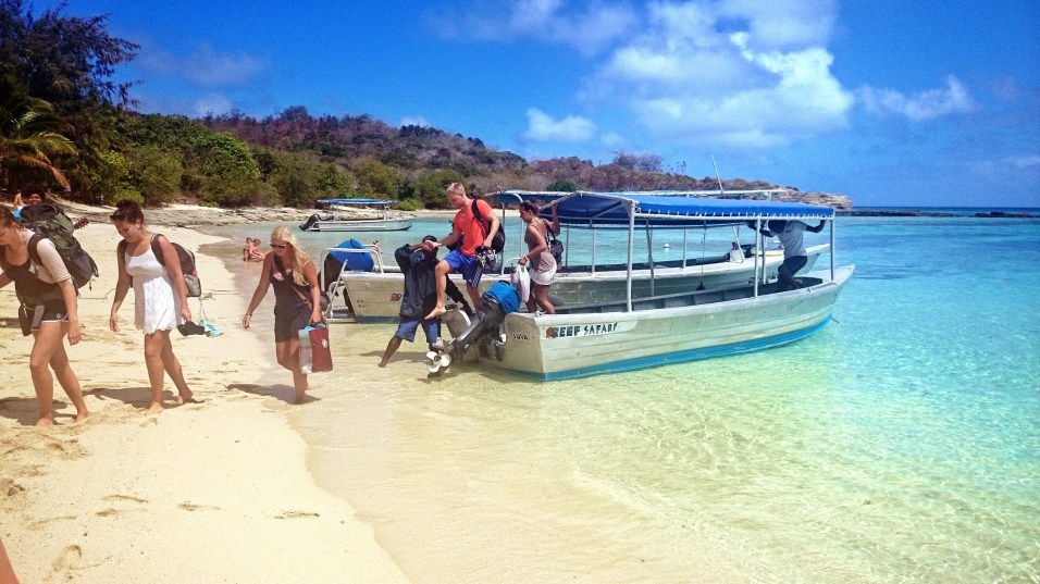 Offloading guests at Barefoot Island, Fiji