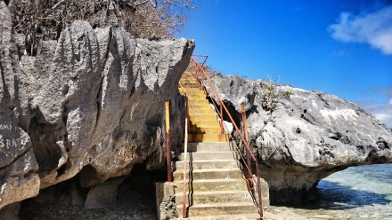 The stairs to the caves