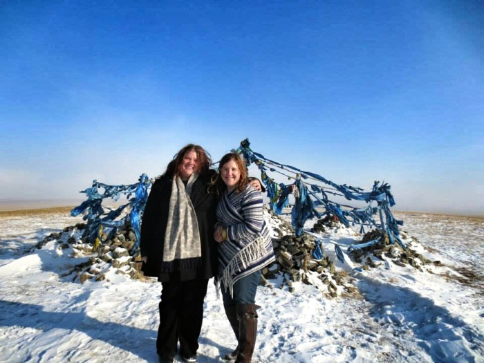 My sister and I at the Tengri temple to the sky gods, on a hilltop somewhere in Mongolia