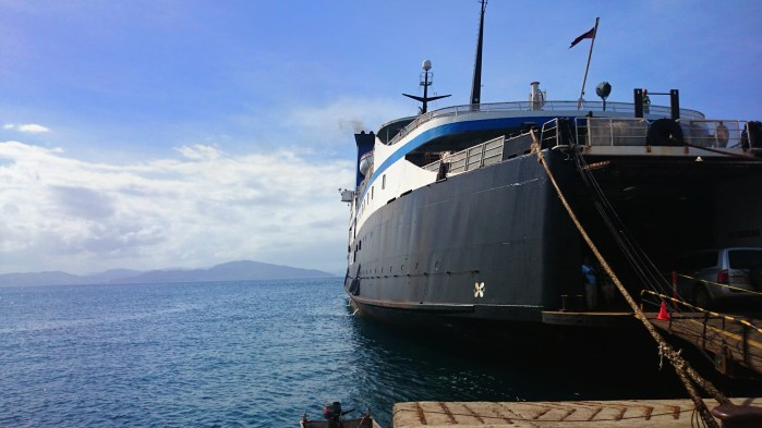 The Lomaviti Princess, a cargo and passenger ferry, at the wharf in Taveuni