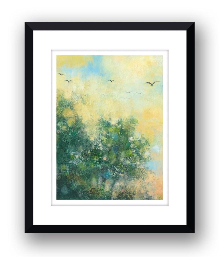Over the treesMartin Allan artist and printmaker prints art images sunset framed print