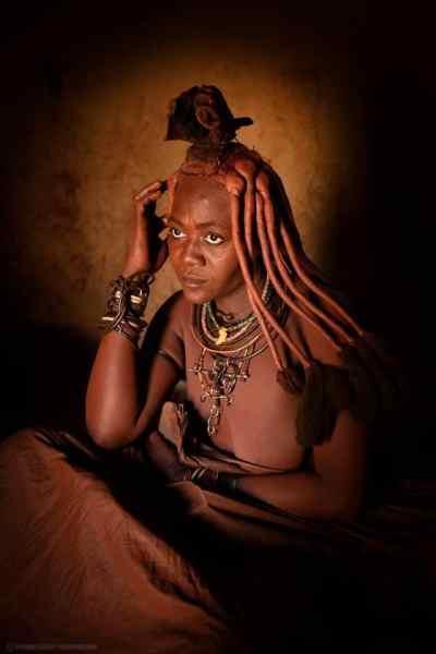 Himba Lady Taking Smoke Bath