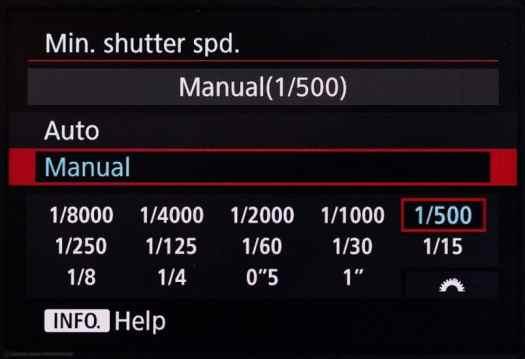 Canon EOS 5Ds R Minimum Shutter Speed
