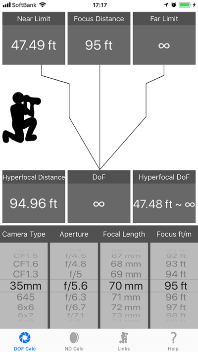 DoF Calc iPhone