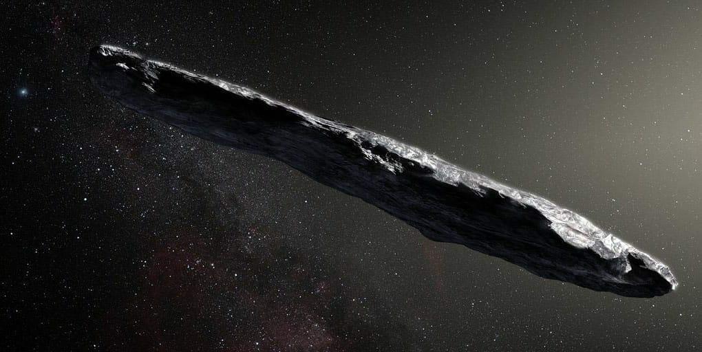 Concepto artístico del asteroide 1I/2017 U1, también conocido como 'Oumuamua. Image Credit:European Southern Observatory / M. Kornmesser