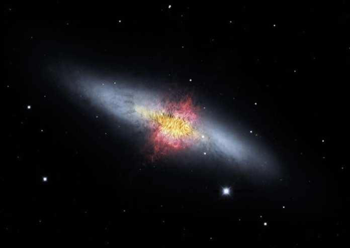En esta imagen se pueden observar las líneas del campo magnético de la Galaxia del Cigarro (también llamada M82). Las líneas siguen los flujos bipolares (rojo) generados por ritmos excepcionalmente altos de formación de estrellas. Crédito de la imagen: NASA/SOFIA/E. Lopez-Rodiguez; NASA/Spitzer/J. Moustakas et al