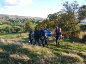 Still very much a group as we descend to the campsite