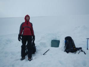A quick picture of the entrance to our snow hole before moving out