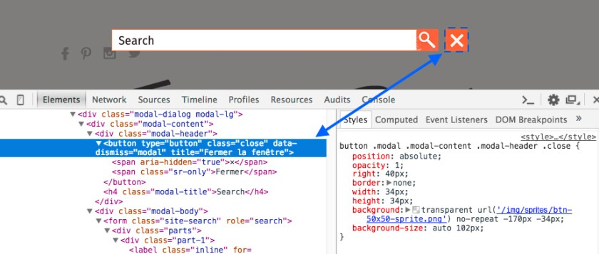 Web inspector screenshot showing my HTML source code and CSS code generated with my LESS mixin in it's context