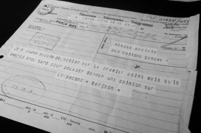 Télégramme d'Henri Bergson, 1924