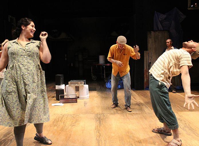 Jamie Rezanour, Arturo Soria, and Sean Carvajal in 'Seven Spots On The Sun' at Cincinnati Playhouse In The Park. Photo by Sandy Underwood.