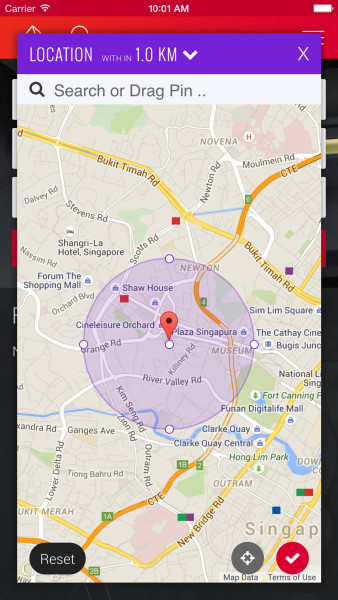 in App : search by location