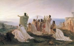 Pitagorici celebrano il sorgere del sole di Fëdor Bronnikov, 1869