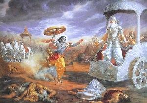 Krishna attacca Bhishmha con una ruota di carro
