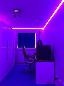 Pink Guitar Desk Area