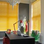 Yellow metal venetian blinds