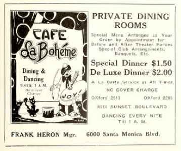 Ad for Cafe La Boheme in Hollywood Vagabond, MAY1927