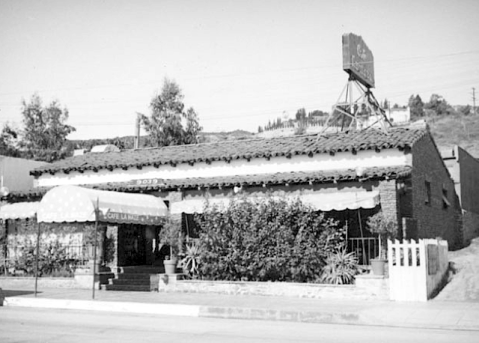 Exterior view of the Cafe Lamaze restaurant, West Hollywood, 1937