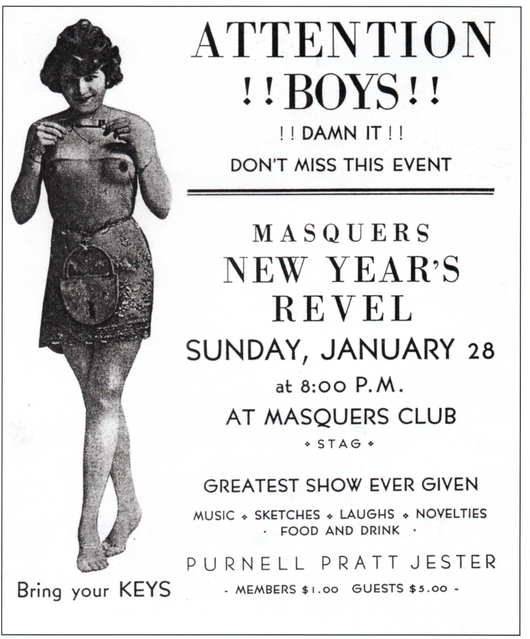 White apron brea ca - Masquers Club Invite 1923