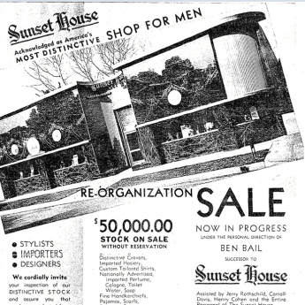 Sunset House, 6717 Sunset Blvd, Los Angeles, mens haberdasher