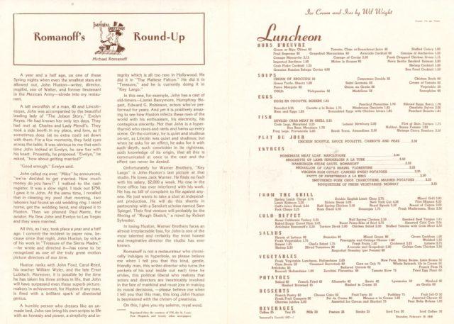 Romanoff's menu
