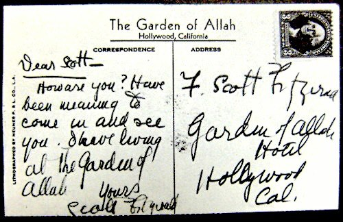 F. Scott Fitzgerald's postcard to himself at the Garden of Allah