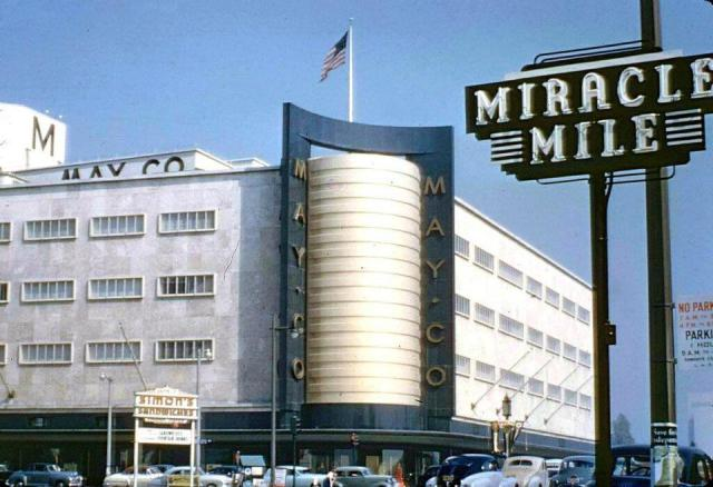 May Company department store, Wilshire Blvd, 1954