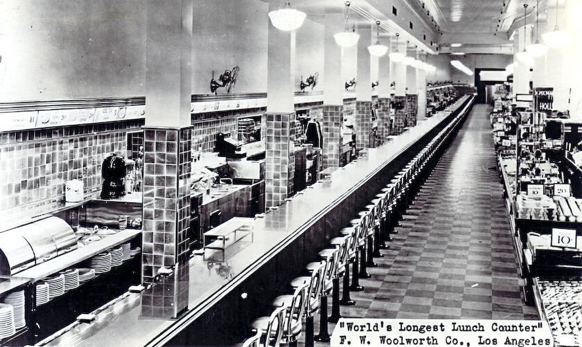 World S Longest Lunch Counter Woolworth S Downtown Los