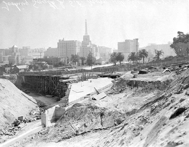 LA Harbor Freeway Construction with Richfield Building in the background