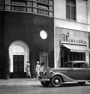 Exterior view of the Elizabeth Arden store at 3933 Wilshire Blvd., next to The Bachelors. c1935