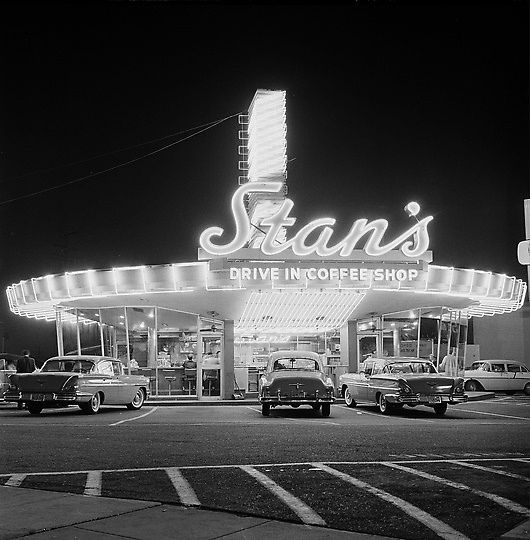 Stan's Drive-In restaurant, corner of Sunset & Highland, Hollywood, California, 1958