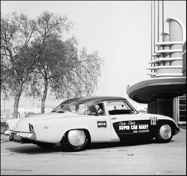 1953 Studebaker Coupe outside the Pan Pacific Auditorium
