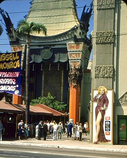 "18-foot standee of Marilyn Monroe in ""Gentlemen Prefer Blondes"" at Grauman's Chinese Theatre, 1953"
